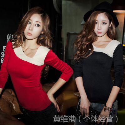 TX021 实拍 韩版拼接新款长袖小衫女女士上衣打底衫女修身T恤
