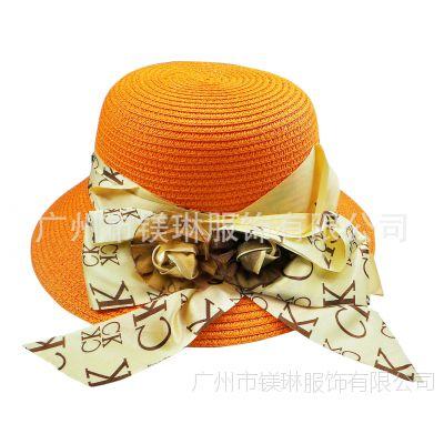 供应夏季时尚草编大沿帽 韩版镶钻女士太阳帽 潮女遮阳草帽批发