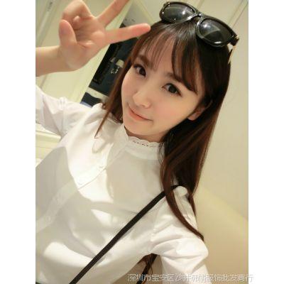 韩国气质花边小立领百搭衬衣白色衬衫女