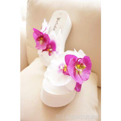夹脚大花朵 厚底高跟 海边度假沙滩 人字拖拖鞋 防滑大码 40女鞋