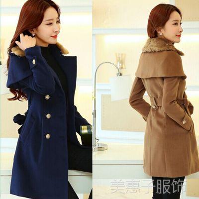 2014冬装新品韩版修身斗篷中长款毛领双排扣毛呢女大衣外套 直批