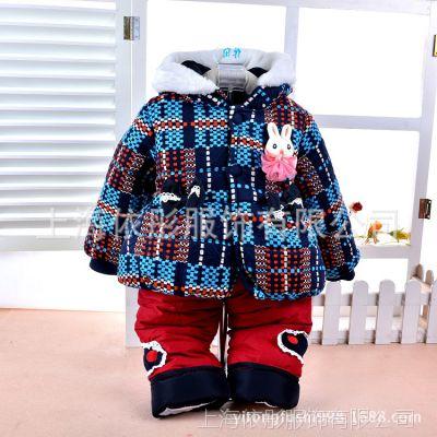 童装批发婴幼儿棉衣套装 贝贝乐女童小兔拼色格子连帽棉衣8816