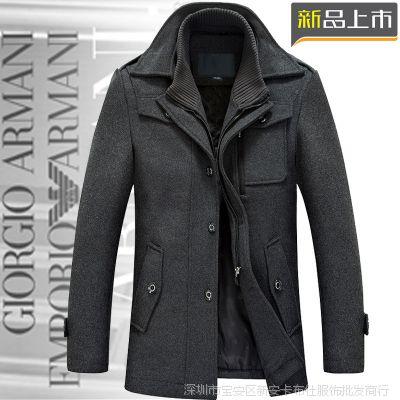 批发2014秋冬新款男式毛呢大衣 中长款加厚双领休闲男装外套男潮