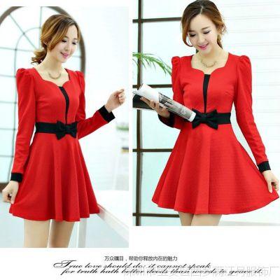 2014秋季新款 韩国甜美蝴蝶结长袖修身显瘦品牌精品红色连衣裙女