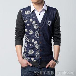 供应新款春秋男式毛衣韩版男士针织衫外套修身长袖开衫男线衫大码线衫