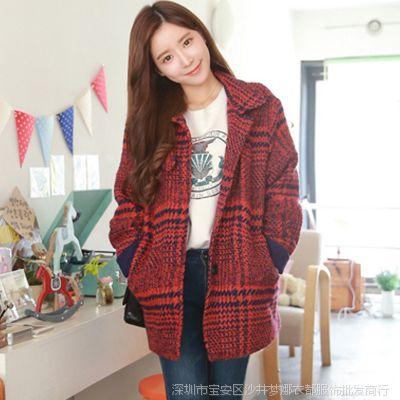 2014秋冬新款女装韩版宽松呢子大衣韩国红色格子毛呢外套女