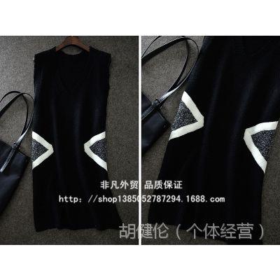 韩单女款女式V领宽松无袖中长款针织马甲 背心批发0.3KG
