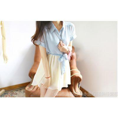 厂家直销2014 款衬衣领子拼接雪纺假两件收腰连衣裙