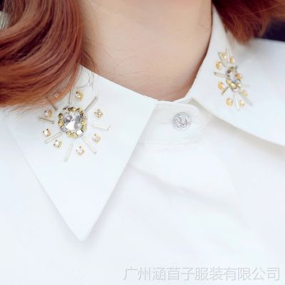 2014秋冬女装 新款翻领带钻打底职业OL气质长袖女士衬衣HGG288