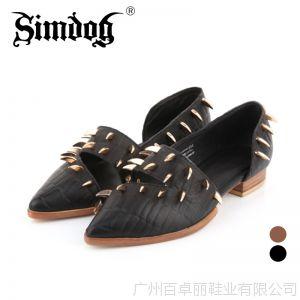供应2014欧美新款时尚真皮女鞋尖头粗跟短靴铆钉单鞋黑暗缪斯6680-1
