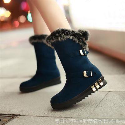 秋冬款冬靴磨砂平底靴皮带扣 圆头短靴雪地靴女靴毛毛靴中筒靴子