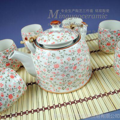 供应日式红碎花功夫茶具7件套 陶瓷提梁大茶壶带茶滤茶杯4263#