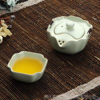 批发定制青瓷茶具套装耐热纯手工汝窖快客杯便携车载个人功夫茶具
