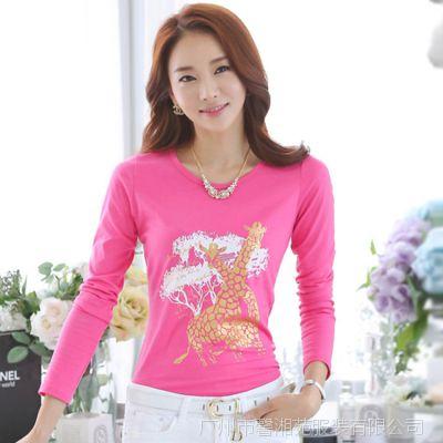 2014秋装新款韩版纯棉小衫打底衫修身上衣显瘦大码长袖女士t恤潮