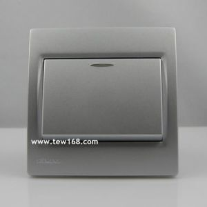 供应东莞西门子开关插座面板 晶宜 远景 灵动系列银色/带荧光一位开关