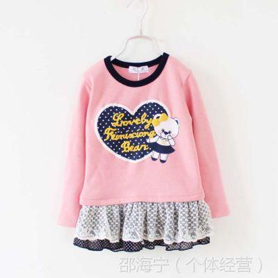 韩国童装儿童公主裙 外贸秋冬款小熊新款女童花边领暖倍儿连衣裙