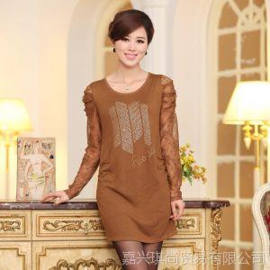 供应新款秋装韩版长袖蕾丝袖纯色时尚年轻妈妈装连衣裙打底衫现货批发