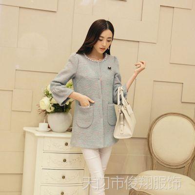 2014女装新款秋装外套韩版领口钉珠中长款九分袖呢子大衣毛呢外套