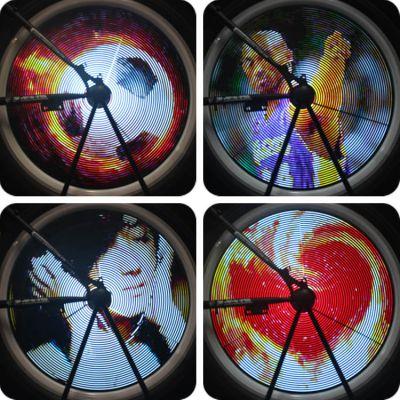 自行车灯厂家 月骑YQ8007风火轮 LED装饰彩灯 充电版 可显示真人照片 视频动画