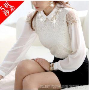 供应JJ潮流 2014春夏装时尚韩版新款OL娃娃领雪纺蕾丝拼接打底衫衬衣