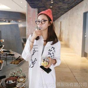 供应2014新款韩国官网代购款来自星星的你米奇字母长款宽松大板衬衫女