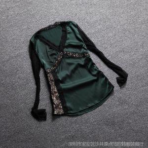 供应魅力与幻想欧洲站 2014春装新款性感蕾丝拼接缎面V领打底衫代发