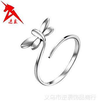 925纯银戒指批发 蜻蜓开口戒 925银戒指淘宝 厂家直销 韩国戒指