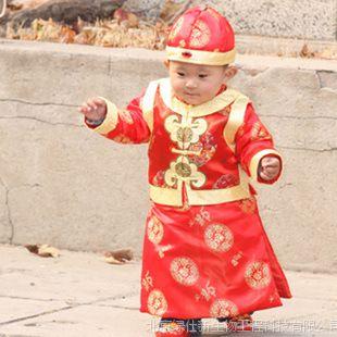 一件代发 男童 棉服龙袍加身 男童礼服 儿童唐装棉服三件套红