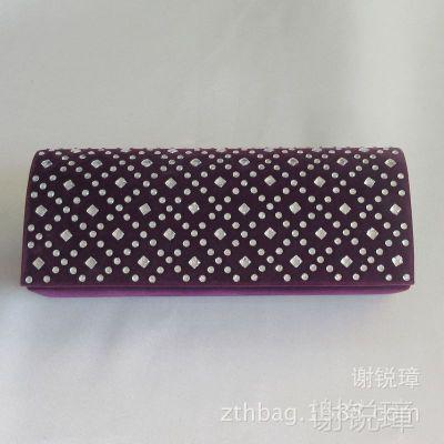 时尚经典紫色烫钻晚宴包 潮流新款 秋冬款绒布宴会礼服包 多色