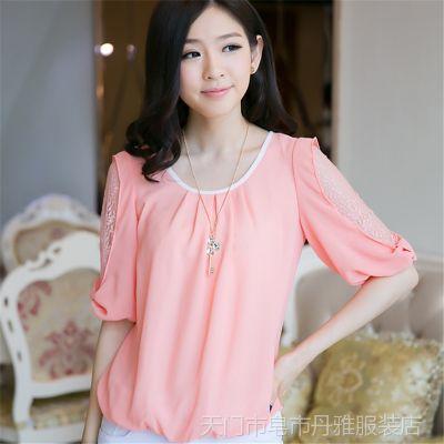 2014夏装新款雪纺圆领衬衣蕾丝衫短袖小衫女式上衣送项链