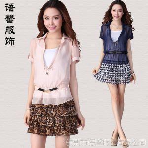 供应2013新款短袖连衣裙 夏 韩版 气质优雅清晰真两件套碎花连衣裙