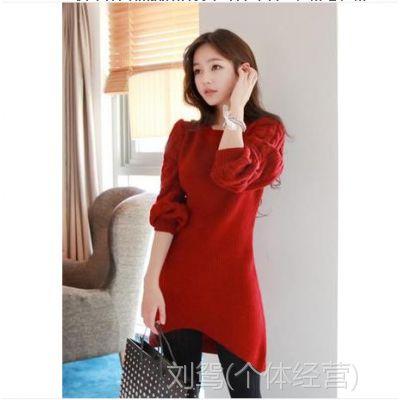 2014秋冬韩国新版别致设计时尚针织连衣裙毛衣裙
