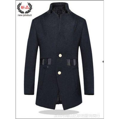 厂家直销男士毛呢大衣高档羊绒风衣男真皮拼接纯色潮流外套代理