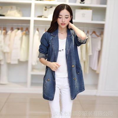 2014秋季新款女装韩版 磨烂宽松中长款牛仔外套风衣 女
