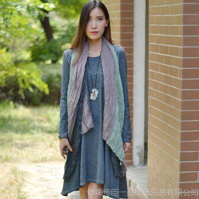 [预定]棉花记原创布衣 文艺范做旧针织长袖连衣裙