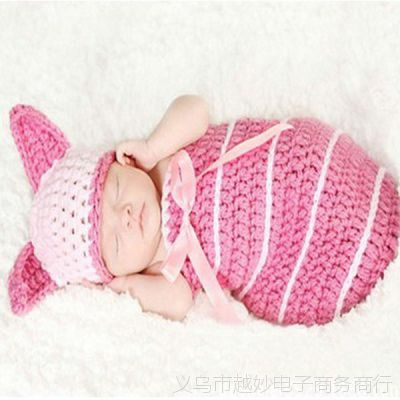 宝宝百天照卡通粉兔服装 婴儿满月百日拍照儿童睡袋衣