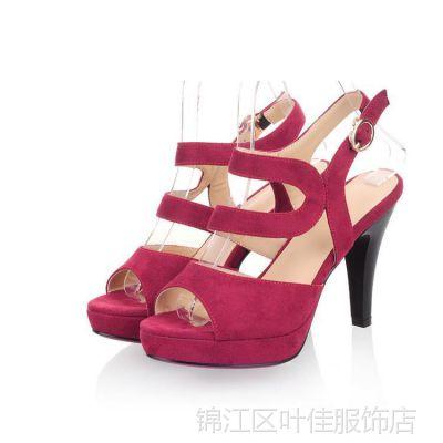 2014新款 时装搭配防水台鱼嘴女凉鞋 韩国女鞋 交叉带超高跟凉鞋