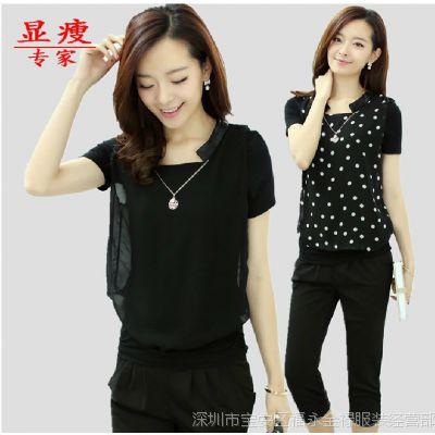 2014夏装新款短袖雪纺衫韩版波点打底衫女士上衣T恤小衫