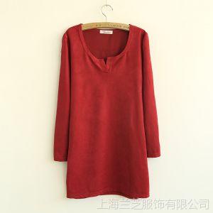 供应273-0063秋冬原单纯色3色小V开口侧口袋套头棉绒布修身打底连衣裙