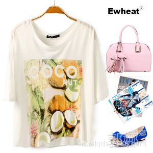 供应2014夏季新款欧美风椰子图案短款打底衫 宽松短袖T恤