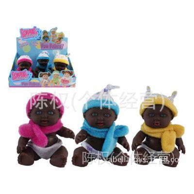 厂家直销 小黑人芭比娃娃3款衣服6只装8.5寸搪胶娃娃盒庄礼品地摊
