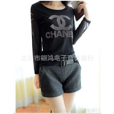 2014冬季新款 韩版加厚毛呢直筒卷边大码高腰短裤