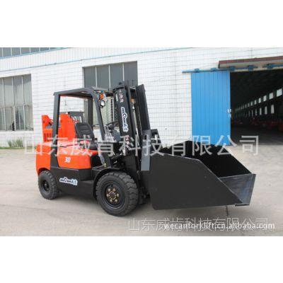 山东厂家威肯3吨柴油叉车供应带铲斗的内燃叉车 倾翻加铲斗 价格优惠