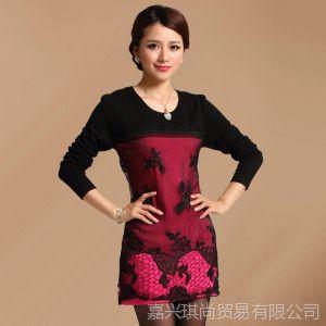 供应琪尚 秋季女装毛衣裙 修身长袖羊毛针织外套 中长款打底衫 批发
