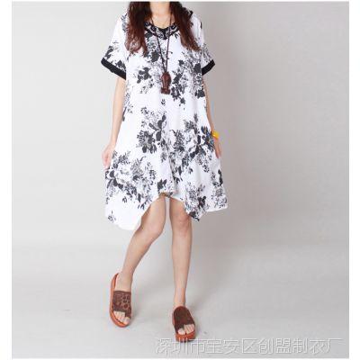 2014夏季新款 韩版宽松大码民族风绣花领子棉麻花色连衣裙