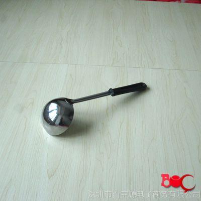 2元黑把勺子 低价批发不锈钢勺 厨用勺 烹饪勺