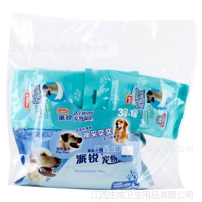 PURRYi派锐狗用宠物套装湿巾80片+24片3连包 宠物清洁用品