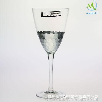 山西祁县厂家热销出口欧美品牌 创意时尚刻花手绘玻璃红酒杯