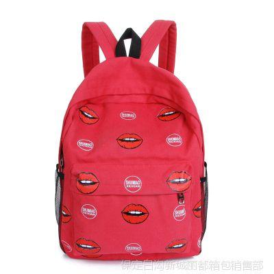 厂家批发学院风休闲嘴唇印花帆布学生书包双肩包韩国女包品牌177