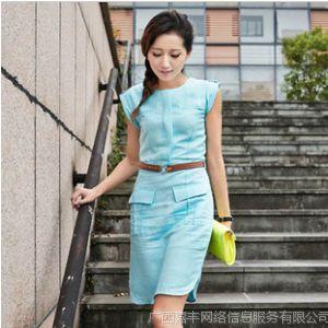 供应新款夏装韩版修身时尚职场气质连衣裙抗皱亚麻舒适个性OL裙6 983
